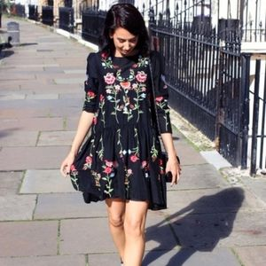 Zara Black Embroidered Floral Swing Dress Medium